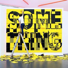"The interactive installation by Rotterdam studio @studiospass makes us really wanna do something typographic. ""SO ME THING"" is made up of 7,200 pages in 50 layers and invites visitors to tear sheets away to create their own type-driven compositions. Created for the ""Do it"" show at Kunsthal Rotterdam last year in response to curator Hans Ullrich Orbist's call to ""Do something unique that only you and no one else in the world can do. Don't call it art."" #typography #graphicdesign"