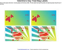 Valentine's Day Treat Bag Labels - Blue
