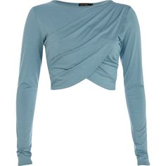 Blue drape long sleeve crop top
