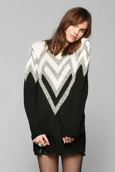 Sparkle & Fade Chevron Shine Tunic Sweater - Urban Outfitters