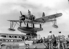 Vought OS2U-Kingfisher on the Catapult off the light cruiser USS Miami #plane #WW2