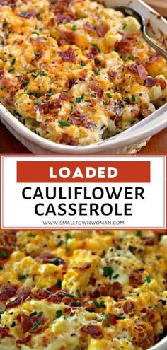 Loaded Cauliflower Casserole is the perfect Thanksgiving side dish! It is made of steamed cauliflower combined with cream cheese sour cream sharp cheddar Monterey Jack bacon and chives. Save this delicious recipe for later! Keto Side Dishes, Vegetable Side Dishes, Side Dish Recipes, Vegetable Recipes, Vegetarian Recipes, Cooking Recipes, Healthy Recipes, Vegetable Dishes For Christmas, Side Dishes With Burgers