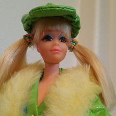 """Barbie's best friend P. was introduced in 1969 as New 'n Groovy Talking P. She'd say things like, """"Hi! I'm Barbie's best friend P. Pretty Blue Eyes, Pretty In Pink, Mod Look, Doe Eyes, Blue Eyeshadow, Vintage Barbie, Live Action, Barbie Dolls, Sculpting"""