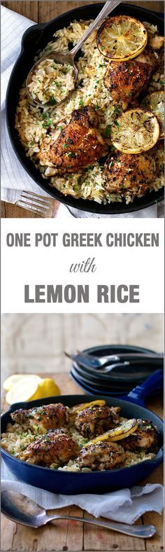 One Pot Greek Chicken & Lemon Rice—This sounds so good! Great for recipe for a dinner party. | https://lomejordelaweb.es/