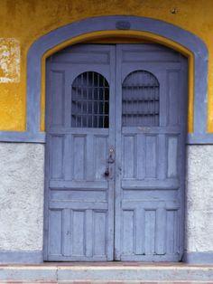 A Smokey Grey Wooden Door of a Painted Colonial House, Granada,Granada, Nicaragua Photographic Print