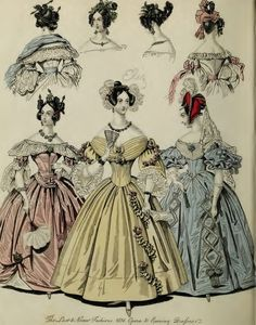 Full skirts. Various sleeve and neckline styles.  Hair à la Chinoise. Romantic Period.