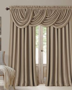 Complete the look of your Elrene All Seasons Window Panel Collection window treatments with the coordinating waterfall valance. The elegant silk-look valance features blackout and energy efficiency te Home Curtains, Window Curtains, Blackout Curtains, Window Panels, Window Coverings, Window Treatments, Curtain Panels, Rideaux Design, Waterfall Valance