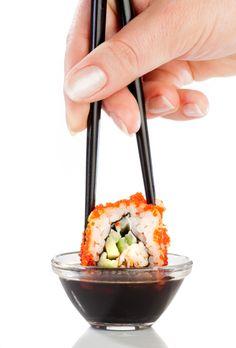 Sushi (California Roll) on a white background Sushi, Rolls, California, Buckets, Buns, Bread Rolls