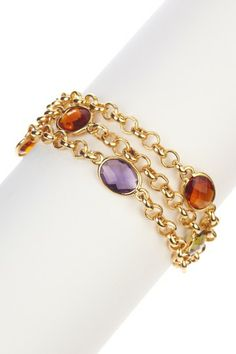 Triple Strand Rolo Chain & Colored Stones Bracelet by Savvy Cie on @HauteLook