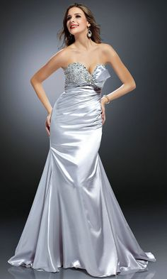 Lace Up Ruched Sequin Bodice Strapless Sweetheart Natural Silver Prom Dress  Long Ball Dresses 46b19f90c5eb