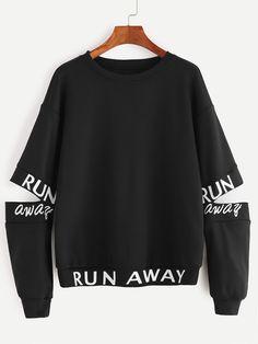 Shop Black Letter Print Open Elbow Sweatshirt online. SheIn offers Black Letter Print Open Elbow Sweatshirt & more to fit your fashionable needs.
