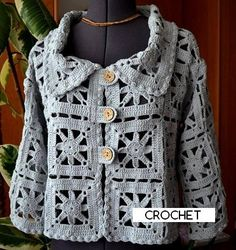 Fabulous Crochet a Little Black Crochet Dress Ideas. Georgeous Crochet a Little Black Crochet Dress Ideas. Gilet Crochet, Crochet Coat, Crochet Cardigan Pattern, Crochet Jacket, Crochet Blouse, Crochet Shawl, Crochet Clothes, Black Crochet Dress, Crochet Bodycon Dresses