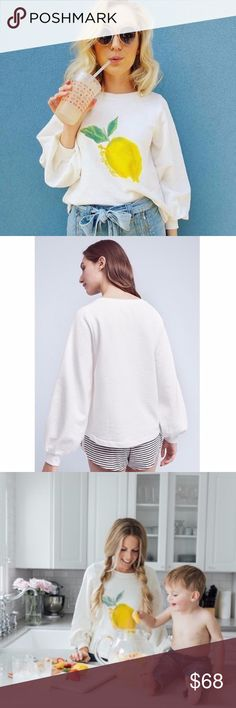 """Anthropologie Reveries Lemonade Sweatshirt Details  •Size: XS •Brand new with tags  •Sold out style; highly rated. Fashion blogger favorite. •2017 Anthropologie Spring Collection  •Retails for $78 •Cotton, polyester •Pullover styling •Machine wash •Imported •Style No. 41040403  Dimensions •Regular: 24.5""""L Anthropologie Tops Sweatshirts & Hoodies"""