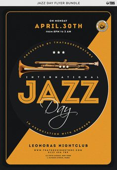 Grab this Jazz Day Flyer Template and Customize your Photoshop Posters templates Design easily! Save time with our premade profesionnal PSD. Concert Flyer, Concert Posters, Music Posters, Event Flyer Templates, Flyer Design Templates, Booklet Design, Jazz Poster, 3d Poster, Plakat Design