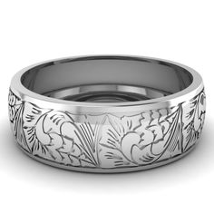 Intricately Engraved Mens Wedding Band