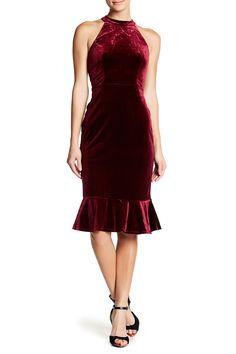 Ruffled Velvet Midi Halter Dress by SUPERFOXX on @nordstrom_rack