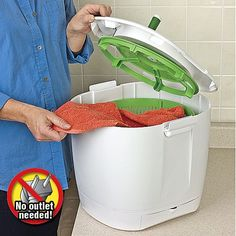 Clean clothes without electricity! The Laundry POD™ is a non-electric, eco-friendly, portable solution for washing small laundry loads in the comfort of a home, or in the RV. Insert up to 10 clothing articles, let them soak a few minutes and manually spin one-minute to get fresh, spotless clothes anywhere. Drains easily with attached hose. #customerfavorite