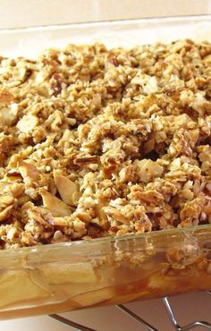 Apple Crisp! This one uses no flour, just quick oats, to make it wheat-free. Use certified gluten-free oats to make it gluten free.