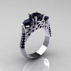 Klassische 10K Weissgold drei Steine Black Diamond von artmasters