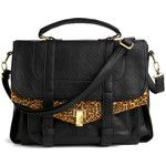 black and leopard print satchel bag