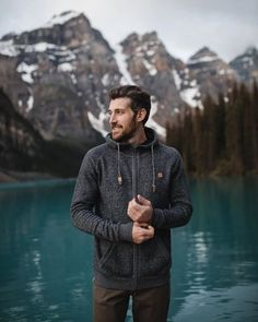 Our Men's Oberon Zip Hoodie is Ethically Crafted from our Organic Cotton Recycled Polyester blend. Photography Poses For Men, Camping Photography, Urban Photography, Zip Hoodie, Sustainable Clothing, Recycled Fabric, Gentleman Style, Timeless Fashion, Female Models