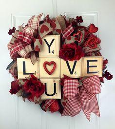 Love you deco mesh wreath, Scrabble Pieces Valetine's Wreath, Valentine's Deco Mesh Wreath, Valentine Wreath, Love You Scrabble Wreath by RhondasCre8iveCorner on Etsy