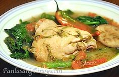 Sinampalukang Manok is a delicious sour chicken soup recipe boiled with vegetables and souring agents. Tamarind leaves are used to make the soup sour.