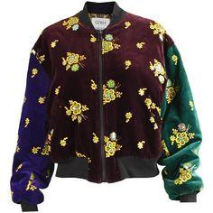 Rifat Ozbek Embroidered Color Block Velvet Women's Bomber Jacket, 1990s