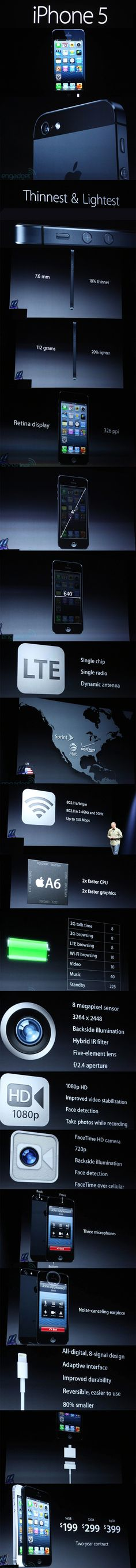 Apple iPhone 5 smartphone presentation - official. Images by Engadget. #Technology.