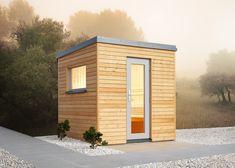 Außensauna Luna 1 mit Lärche-Profilen Garage Doors, Shed, Outdoor Structures, Garden, Outdoor Decor, Model, Wellness, Home Decor, Roof Drain