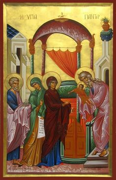 The Presentation of Christ in the Temple by Michael Hadjimichael Religious Icons, Religious Art, Transfiguration Of Jesus, Jesus In The Temple, Assumption Of Mary, Christian Artwork, Russian Icons, Biblical Art, Art Icon