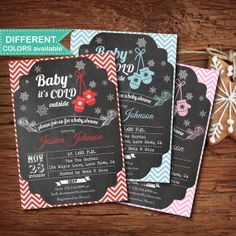 Printable baby shower invitation for winter or Christmas. Chalkboard. Baby it's cold outside. personalised DIY digital invite. boy, girl.B14...