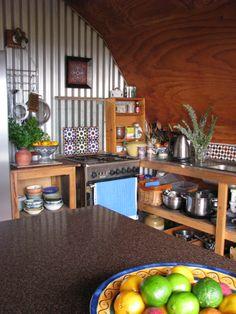 Bohemian kitchen ... complete with Moorish Spanish tiles.