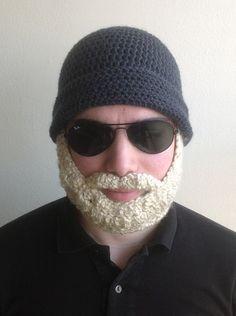 Handmade Crochet Beard Hat in Dark grey beanie hat by SueStitch, $35.99