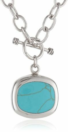 """Sterling Silver Turquoise Inlay Square Pendant Necklace On Large Cable Link Chain, 16"""" Amazon Curated Collection,http://www.amazon.com/dp/B0024FAW7U/ref=cm_sw_r_pi_dp_ptqFtb0RTA7DTFMG"""