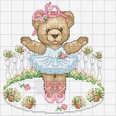 Orsetta Ballerina Cross Stitch For Kids, Cross Stitch Baby, Cross Stitch Animals, Cross Stitch Charts, Cross Stitch Designs, Cross Stitch Patterns, Baby Embroidery, Cross Stitch Embroidery, Crochet Bear