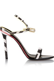 Emilio Pucci Neon-trimmed snake-effect leather sandals | THE OUTNET