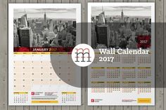 Wall calendar InDesign template for 2017 year. 12 pages + cover page + calendar poster for 2017 year. Place for photo, company logo and contact info. Free fonts used. Stationery Templates, Indesign Templates, Calendar 2017, Cover Pages, A3, Fonts, Company Logo, Poster, Free