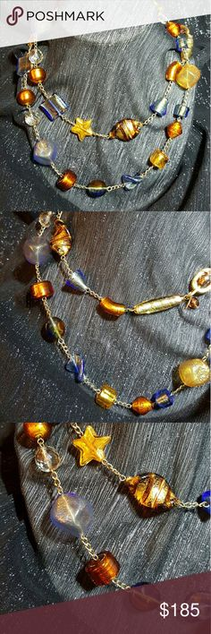 """Genuine La Perla Amber & Blue Murano Necklace Dazzling La Perla Veneziana Murano glass necklace featuring beads in various shapes and colors. Each bead is completely handmade by the """"perlera"""", the bead maker. Renata and Giorgia Ferrari learned the ancient craft of lamp-work bead-making from their mother Adelina, in true Murano tradition. The beads are meticulously created using gold leaf """"sommerso"""" in amber, blue and clear crystal. Purchased in Venice, Italy. Preloved. No trades. La Perla…"""