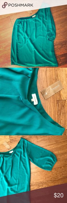 One Sleeve Green Flowy Dress This is a Women's Size Medium purchased from Francesca's never worn. The lining inside is a dark green with a sheer green material on top. The 3 quarter lengths sleeve is sheer also. Thanks for stopping by! Happy Poshing!🖤😘🎀 Francesca's Collections Dresses One Shoulder