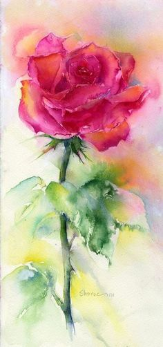 Stunning watercolor rose painting by Shelia Gill. Stunning watercolor rose painting by Shelia Gill. Watercolor Rose, Watercolor Artists, Watercolor Cards, Watercolour Painting, Painting & Drawing, Watercolor Landscape, Tattoo Watercolor, Simple Watercolor, Watercolor Ideas