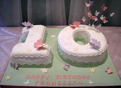 Number 10 Cake Butterflies. Numerical butterfly themed number 10 shaped cake with sugar butterflies and a butterfly wired explosive topper