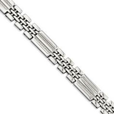 Men's Textured Stainless Steel 1/4 Carat Diamond Bracelet Available Exclusively at Gemologica.com