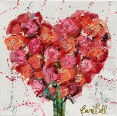 "Artist: Emma Bell Dimensions: 10""x10"" Original Floral Medium: Acrylic Surface: Wrapped canvas Say 'I Love You' this Valentine's Day with an Emma Bell Floral Hea"