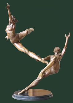 Bronze Couples or Group sculpture by artist Andrew Benyei titled: 'Perfect Marriage (Dancer sculptures)'
