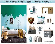 Laat je inspireren door de moodboards met meubels, behang, verfkleuren en beddengoed voor jouw kinderkamer.