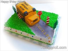 3D School Bus Cake made for my son's 6th B'day