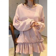 $10.55 Loose-Fitting Ruffle Hem Puff Sleeve Sweatshirt For Women