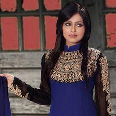 Salwar Suits Online: Latest Indian Salwar Kameez For Women, at Utsav Fashion Anarkali Churidar, Indian Suits, Post Wedding, Desi, Online Shopping, Dark Blue, Girl Fashion, Jewellery, Blouse