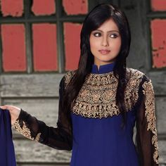 Dark Blue Faux Georgette Anarkali Churidar Kameez